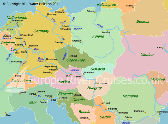 Map Of River Danube In Europe Thefreebiedepot - Germany map of rivers