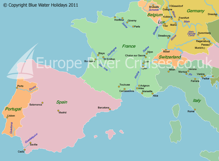 Map Of Europe With Rivers Map Of Europe From World Map - World map with rivers