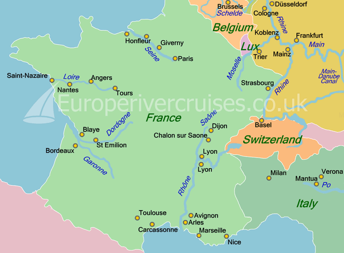 Rivers Map Europe.Croisieurope Cruises From Bordeaux On The Rivers Garonne And Dordogne